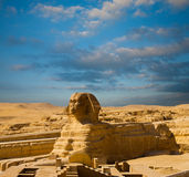 Egypt Pyramids Sphinx Full Body Profile Blue Sky royalty free stock photos