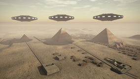 Egypt pyramids with UFOs. A 3D rendered image of the Giza platform Egypt. Above the monumental tombs and pyramids hoovering some futuristic UFOs stock illustration