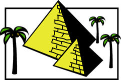 Egypt pyramids vector illustration. Vector illustration of two egypt pyramids and three palm trees Stock Images