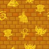 egypt Sömlösa modeller för forntida egyptisk kultur på stenväggen stock illustrationer