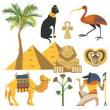 Egypt set, ancient Egyptian religion and cultural elements vector Illustrations. On a white background royalty free illustration