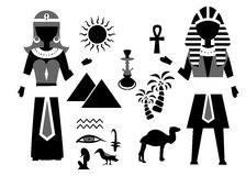 The egypt set. Set in the style of a flat design on the theme of egypt Royalty Free Stock Photography