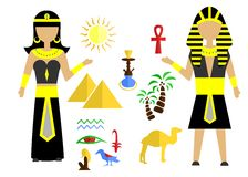 The egypt set. Set in the style of a flat design on the theme of egypt Stock Photo