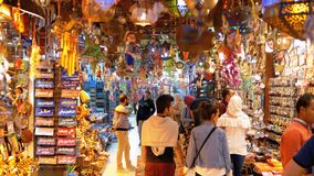 Egyptian souvenirs shops for tourists in the old city market at night. EGYPT, SHARM EL SHEIKH, APRIL 8, 2019: Egyptian souvenirs shops for tourists in the old stock video