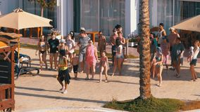 Hotel animation in Egypt dances and entertains tourists. Egypt, Sharm El Sheikh, April 6, 2019: Hotel Animation in Egypt Dances and Entertains Tourists. People stock video footage