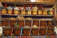 Egypt sice market. Market in egypt with colorful spice and tea Stock Image