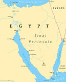 Egypt, Sinai Peninsula political map. Situated between Mediterranean Sea and Red Sea. Land bridge between Asia and Africa. Suez Canal, Gulf of Suez and Aqaba Royalty Free Stock Photos