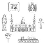 Egypt sketched travel landmarks and symbols Royalty Free Stock Images