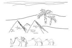 egypt skissar stock illustrationer