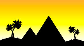 egypt solnedgång stock illustrationer