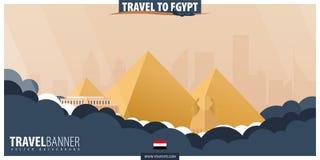 egypt som löper Lopp och turismaffisch Plan illustra för vektor royaltyfri illustrationer