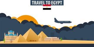 egypt som löper Lopp- och turismbaner Moln och sol med stock illustrationer