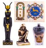 The Egypt Souvenirs: papyrus, statue, colored sand royalty free stock image