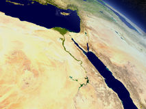Egypt from space. Egypt with surrounding region as seen from Earth's orbit in space. 3D illustration with highly detailed realistic planet surface and clouds in stock illustration