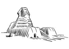 Egypt Sphinx Monument Cairo Sketched Stock Photo