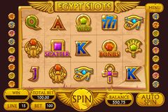 EGYPT style Casino slot machine game. Complete Interface Slot Machine and buttons on separate layers. EGYPT style Casino slot machine game. Vector complete stock illustration
