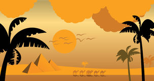 In Egypt, sunset camels and palm. Pramit Pharaoh. In Egypt, sunset, camels and palmiy trees Stock Photography