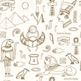 Egypt symbols seamless pattern Sketches. Hand-drawing. Vector illustration of for design and packages product Royalty Free Stock Image