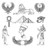 Egypt symbols set. Egypt symbols culture, icon character, antique pyramid, vector illustration Royalty Free Stock Photo