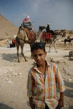 Egypt teenage and the camel riders Stock Images