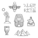 Egypt travel and ancient sketch icons royalty free illustration