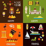 Egypt travel  and culture icons in flat style Stock Images
