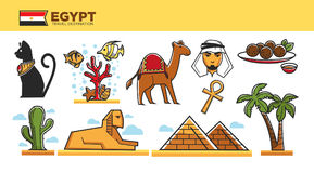 Egypt travel destination poster with famous country symbols Stock Photo