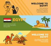 Egypt travel destination promotional tour agency banners set. Journey to hot countries advertisement posters. Famous pyramids and ancient sphinx cartoon flat Royalty Free Stock Photography
