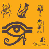 Egypt travel history sybols hand drawn design traditional hieroglyph vector illustration style. Stock Photography