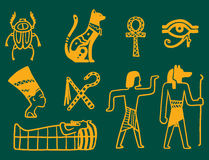 Egypt travel history sybols hand drawn design traditional hieroglyph vector illustration style. Stock Photography