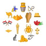 Egypt travel icons set, cartoon style. Egypt travel icons set. Cartoon illustration of 16 Egypt travel vector icons for web Royalty Free Illustration