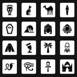 Egypt travel icons set, simple style. Egypt travel icons set. Simple illustration of 16 Egypt travel vector icons for web Stock Photos