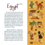 Egypt travel agency information vector poster for tourism of Egyptian landmark symbols and famous attractions. Egypt travel information poster for tourism agency Stock Photos
