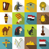 Egypt travel items icons set, flat style. Egypt travel items icons set. Flat illustration of 16 Egypt travel items vector icons for web Vector Illustration