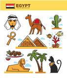 Egypt travel tourism landmarks and culture tourist attractions or symbols vector icons Royalty Free Stock Images