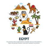 Egypt travel tourism vector poster of landmark symbols and famous Egyptian culture attractions. Egypt travel tourism poster of landmark symbols and famous Royalty Free Stock Photo