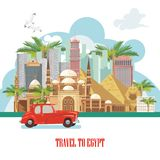Egypt vector. Cairo advertising with retro red car. Egyptian traditional icons in flat design. Vacation and summer Royalty Free Stock Images