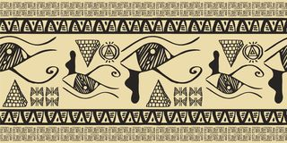 Tribal pattern vector with seamless egyptian symbol ancient style. Vintage illustration background for fashion textile print and w. Egypt Tribal pattern vector stock illustration