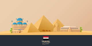 egypt Turism Resande illustration Modern plan design Egypten lopp pyramid vektor illustrationer