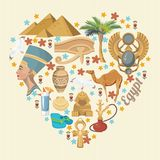 Egypt vector with heart shape. Egyptian traditional icons in flat design. Vacation and summer. Egypt travel vector with heart shape. Egyptian traditional icons Royalty Free Stock Photography