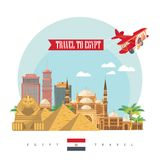 Egypt vector  Modern style. Egyptian traditional icons in flat design. Vacation and summer Royalty Free Stock Photos