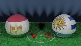 Egypt versus Uruguay. 2018 FIFA World Cup.Original 3D image. June 15th, Egypt vs Uruguay 2018 FIFA World Cup.Original 3D image. Two balloons above a soccer Stock Photos