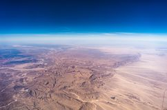 Egypt view from the airplane desert mountains