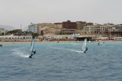 Windsurfing on the waves of the Red Sea stock photos