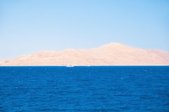 Egypt. View from the sea on a deserted sandy beach. Tiran Island Royalty Free Stock Image