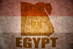 Egypt vintage map. Egypt map on a vintage egyptian flag background royalty free stock photography