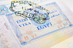 Egypt visa. With marks on the arrival and departure Stock Photos