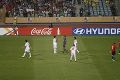 Egypt vs Paraguay - FIFA-U20 Worldcup. Yellow card issued to one of Paraguay players during their match against Egypt (the host) during the FIFA U-20 worldcup Stock Photo