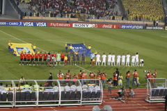 Egypt vs Paraguay - FIFA-U20 Worldcup. Teams line up before the start of the Egypt vs Paraguay match as part of the FIFA U20 2009 Worldcup competition Royalty Free Stock Photo