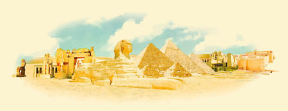 Egypt. Water color panoramic egypt illustration vector illustration